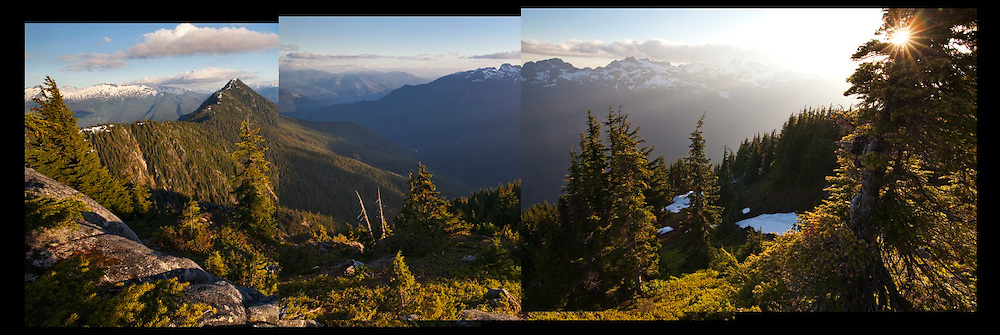 Sunset view into Bacon Creek from the boundary between Mount Baker-Snoqualmie National Forest and North Cascades National Park, Washington.