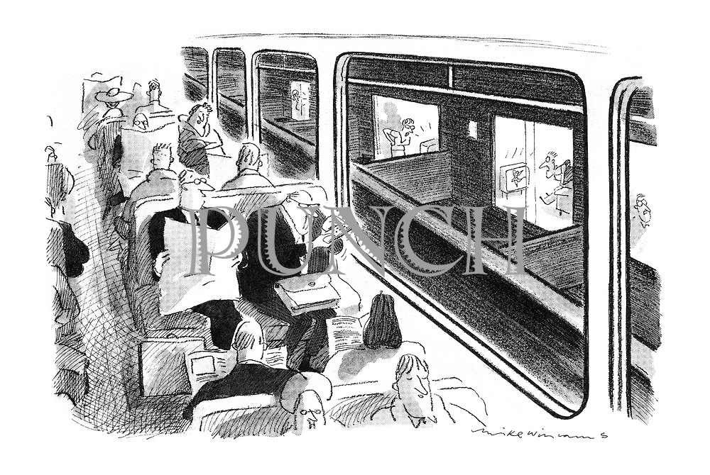 (A commuter train on an elevated track passes a block of flats. A passenger uses a remote control to change the channels of the inhabitants' televisions)
