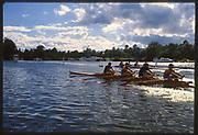 Henley, Great Britain, Men's Quadruple Sculls Racing past Temple Meadow,  1988 Henley Royal Regatta, Henley Reach, River Thames, Annual Event. [Mandatory credit: Peter Spurrier/Intersport Images]