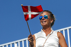 March 25, 2019 - Miami Gardens, FL, USA - A tennis fan waves a Danish flag during a match between Caroline Wozniacki, of Denmark, and Hsieh Su-wei, of Taiwan, at the Miami Open on Monday, March 25, 2019 at Hard Rock Stadium in Miami Gardens, Fla. (Credit Image: © Matias J. Ocner/Miami Herald/TNS via ZUMA Wire)