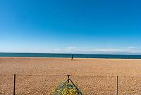 Brighton beach almost empty  as Boris Johnson  covid 19 lockdown rules are relaxed Photo Mark Anton Smith