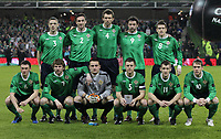 Football - Carling Nations Cup - Scotland v Northern Ireland<br /> <br /> Northern Ireland team group L to R - Chris Baird, Rory McArdle, Gareth McAuley, Rory Patterson, Steven Davies - Front row, Corry Evans, Pat McCourt, Jonathan Tuffey, Stephen Craigan, Niall McGinn and Grant Mccann<br /> <br /> Scotland v Northern Ireland Carling Nations Cup at The Aviva Stadium
