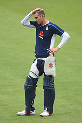 England's Alex Hales during the nets session at Cardiff Wales Stadium.