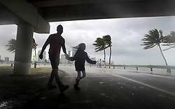 September 09, 2017 - Miami, Florida, U.S. - The winds and sea are whipped up off of the Rickenbacker Causeway in Miami as Hurricane Irma approaches. (Credit Image: © Mike Stocker/Sun-Sentinel via ZUMA Wire)