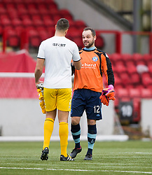Clyde's keeper John Gibson and stand in keeper Forfar Athletic's Martin Fotheringham  at the end. Clyde 2 v 2 Forfar Athletic, Scottish League Two game played 4/3/2017 at Clyde's home ground, Broadwood Stadium, Cumbernauld.