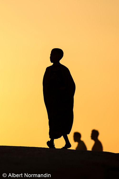 Silhouette of Monks on hill, Ayetharyar Township