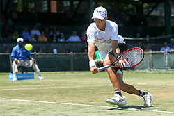 July 19, 2018 - Newport, RI, U.S. - NEWPORT, RI - JULY 19: Jason Jung (TPE) returns to Tim Smyczek (USA) during their quarterfinal match up of the Dell Technologies Hall of Fame Open at the International Tennis Hall of Fame in Newport, Rhode Island on July 19, 2018. Smyczek won the match 6-1, 7-5, 6-4 and advanced to the semifinals. (Photo by Andrew Snook/Icon Sportswire) (Credit Image: © Andrew Snook/Icon SMI via ZUMA Press)
