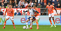 Blackpool's Kenny Dougall battles with Preston North End's Alan Browne<br /> <br /> Photographer Dave Howarth/CameraSport<br /> <br /> The EFL Sky Bet Championship - Blackpool v Preston North End - Saturday 23rd October 2021 - Bloomfield Road - Blackpool<br /> <br /> World Copyright © 2020 CameraSport. All rights reserved. 43 Linden Ave. Countesthorpe. Leicester. England. LE8 5PG - Tel: +44 (0) 116 277 4147 - admin@camerasport.com - www.camerasport.com