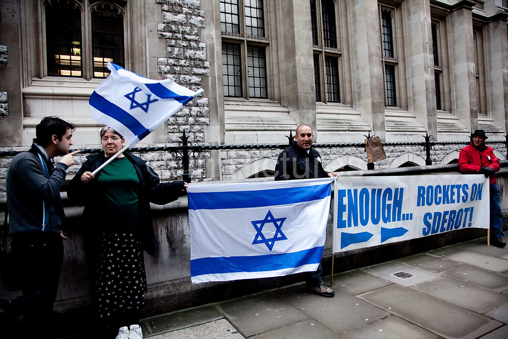 """London session of the Russel Tribunal on Palestine. """" Corporate Complicity in Israel's violations in international human rights law and international humanitarian law"""". A small group of Zionists staging a protest demonstration outside the tribunal."""