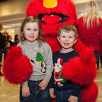 Ronan and Olivia McMahon from Newmarket-on-Fergus with Elmo before boarding their Santa flight