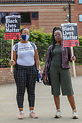 People holding placards and most of them wearing surgical face masks to curb the spread of coronavirus pandemic, organised by Black Lives Matter are holding the seventh weekend of protests in front of the US Embassy in East London, on Saturday, July 11, 2020. <br /> Anger against systemic levels of institutional racism have raged through the city, and worldwide; sparked by the death of George Floyd who died on May 25 after he was restrained by Minneapolis police in the United States. (VXP Photo/ Vudi Xhymshiti)