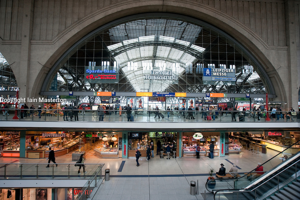 Interior of Leipzig Hauptbahnhof or  main railway station in Saxony Germany