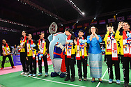 BANGKOK, THAILAND - MAY 26: Team Thailand saying thank you and farewell to the fans on Court 1 with their gold medals after the Medals Presentation at the BWF Total Thomas and Uber Cup Finals 2018, Impact Arena, Bangkok, Thailand on May 26, 2018.<br /> .<br /> .<br /> .<br /> (Photo by: Naratip Golf Srisupab/SEALs Sports Images)<br /> .<br /> Any image use must include a mandatory credit line adjacent to the content which should read: Naratip Golf Srisupab/SEALs Sports Images