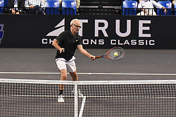 October 4, 2018 - St. Louis, Missouri, U.S - JOHN MCENROE with the forehand touch during the Invest Series True Champions Classic on Thursday, October 4, 2018, held at The Chaifetz Arena in St. Louis, MO (Photo credit Richard Ulreich / ZUMA Press) (Credit Image: © Richard Ulreich/ZUMA Wire)