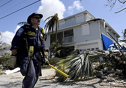 Los Angeles City Fire Department FEMA California Task Force 1 Firefighter Bryan Quick walks towards another home looking for any signs of life in Cudjoe Key, FL, USA, where Hurricane Irma's eye made landfall, on Tuesday, September 12, 2017. Photo by Taimy Alvarez/Sun Sentinel/TNS/ABACAPRESS.COM