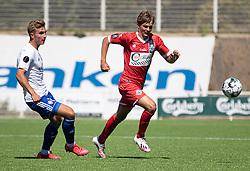 Oliver Andersen (HIK) og Hans Christian Bonnesen (FC Helsingør) under træningskampen mellem FC Helsingør og HIK den 1. august 2020 på Helsingør Ny Stadion (Foto: Claus Birch).