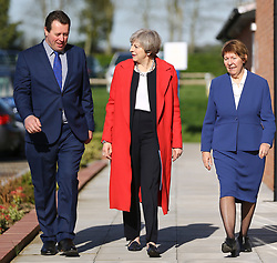 © Licensed to London News Pictures. 06/04/2017. Calverton UK. Prime Minister THERESA MAY arrives to launch the Conservative Party's Local Election campaign this morning at Calverton Village hall in Nottinghamshire. Photo credit: Andrew McCaren/LNP