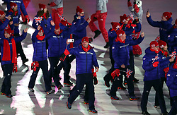 Member of the Great Britain Team during the Opening Ceremony of the PyeongChang 2018 Winter Olympic Games at the PyeongChang Olympic Stadium in South Korea.