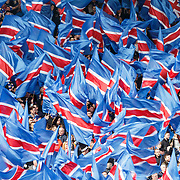 Celtic v Rangers. William Hill Scottish Cup Semi-Final. Hampden Park, Glasgow UK.  Rangers fans display their colourful flags.  17/04/16
