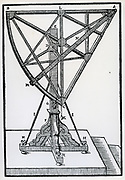 Large wooden sextant fixed in azimuth. From Tycho Brahe  'Astronomiae instaurate mechanica', 1602.