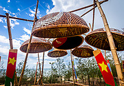 Fine Art<br /> <br /> Vietnames Basket Fishing Boats hung upside down for outdoor art design. RAW to Jpg