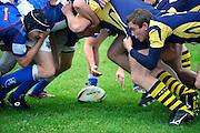 Nederland, Bemmel, 21-10-2012Een rugby wedstrijd. Spelers vormen een zgn scrum.Foto: Flip Franssen/Hollandse Hoogte