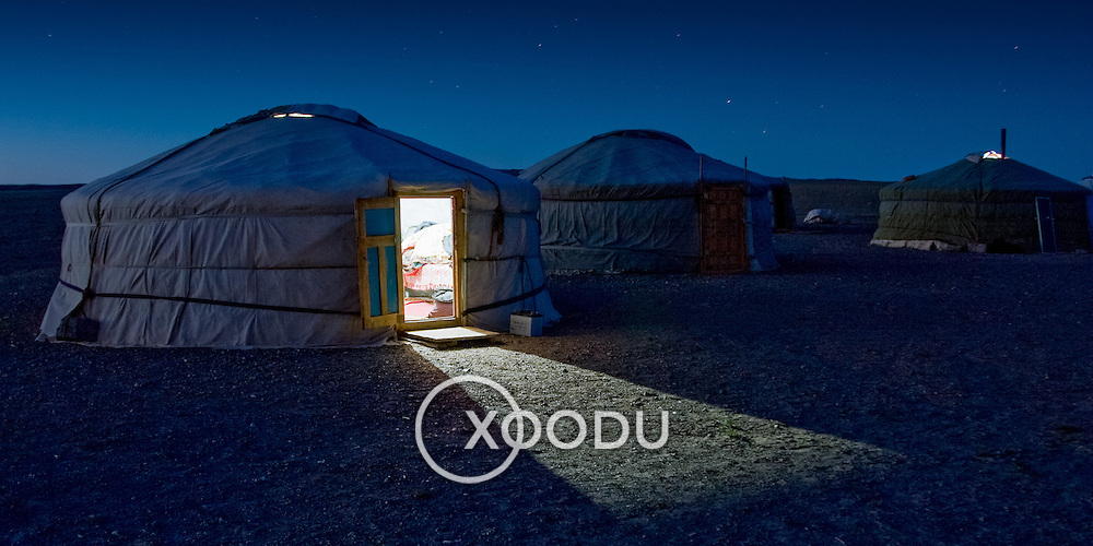 Traditional ger tent in Gobi Desert by night (, Mongolia - Sep. 2008) (Image ID: 080905-2034511a)