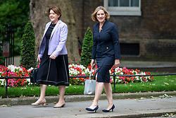 © Licensed to London News Pictures. 04/06/2018. London, UK. Maria Miller MP (L) and former Home Secretary Amber Rudd MP (R) on Downing Street. Photo credit: Rob Pinney/LNP
