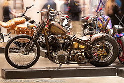 King Nothing Bobber, Josh Allison's Cry Baby Cycles' 1945 Harley-Davidson Knucklehead custom from Greeley, Colorado. Handbuilt Show. Austin, Texas USA. Saturday, April 13, 2019. Photography ©2019 Michael Lichter.