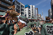 Mikoshi are carried around the streets of Asakusa, in front of the Tokyo Skytree, during the Sanja matsuri. Asakusa, Tokyo, Japan. Sunday May 15th 2016 The Sanja matsuri is one of the biggest festivals in Japan. Taking place over the 3 days of the second weekend of May (May 13th to 15th) it features many mikoshi, or portable shrines, that are carried around by local groups to bring blessings and prosperity to their neighbourhoods