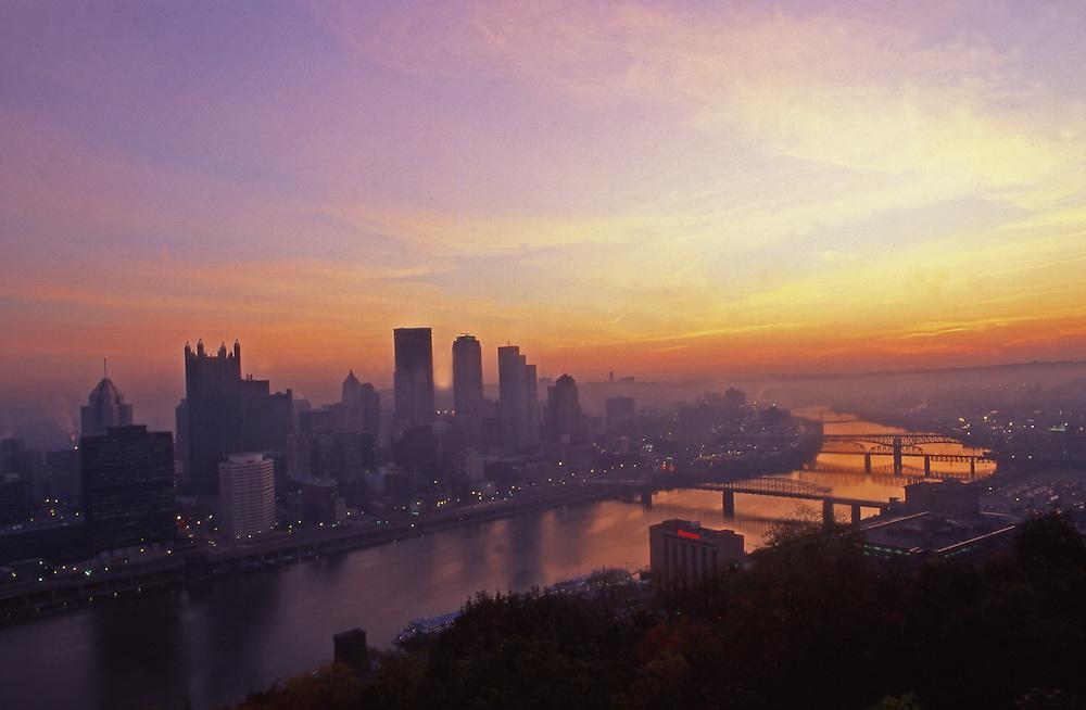 Pittsburgh, PA, Skyline, Monogahela River, Sunrise, from Mt. Washington