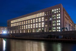 Night view of new Humboldt Forum museum  on museum Island in Berlin, Germany