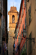 Steeple and windows in old town Nice on the French Riviera