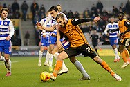 James Henry battles with Stephen Kelly during the Sky Bet Championship match between Wolverhampton Wanderers and Reading at Molineux, Wolverhampton, England on 7 February 2015. Photo by Alan Franklin.