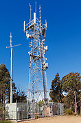 Antennas, lattice tower and base station shelter 3 sector cellular  communications  mobile telephone system in New South Wales, Australia. <br /> <br /> Editions:- Open Edition Print / Stock Image
