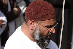 © licensed to London News Pictures. LONDON, UK  06/05/2011. Muslims against Crusades (MAC), founded by Anjem Choudary (pictured), hold a prayer vigil for Osama Bin Laden outside the Us embassy in London. Please see special instructions for usage rates. Photo credit should read CLIFF HIDE/LNP