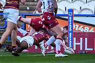 Liam Marshall (2) of Wigan Warriors attempts to score a try but is disallowed during the Betfred Super League match between Huddersfield Giants and Wigan Warriors at the John Smiths Stadium, Huddersfield, England on 1 March 2020.