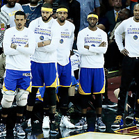 09 June 2017: Golden State Warriors forward Matt Barnes (22), Golden State Warriors center JaVale McGee (1), Golden State Warriors forward David West (3), Golden State Warriors guard Patrick McCaw (0) and Golden State Warriors guard Ian Clark (21) are seen on the bench during the Cleveland Cavaliers 137-11 victory over the Golden State Warriors, in game 4 of the 2017 NBA Finals, at  the Quicken Loans Arena, Cleveland, Ohio, USA.