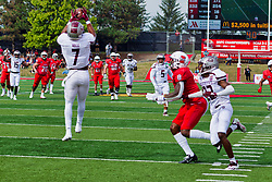 NORMAL, IL - October 02: Naveon Mitchell pulls in a pass during a college football game between the Bears of Missouri State and the ISU (Illinois State University) Redbirds on October 02 2021 at Hancock Stadium in Normal, IL. (Photo by Alan Look)