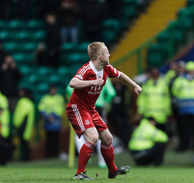 Scottish League Cup Final Aberdeen V Inverness CT at Parkhead on Sunday, 16th of March 2014, Aberdeen Scotland.<br /> Pictured: Nicky Low Celebrates his spot kick<br /> (Photo Ross Johnston/Newsline Scotland)