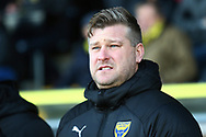 Oxford United manager Karl Robinson during the EFL Sky Bet League 1 match between Burton Albion and Oxford United at the Pirelli Stadium, Burton upon Trent, England on 2 February 2019.