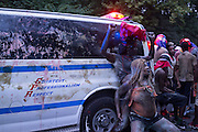 Jouvert in Brooklyn, NY, on Monday, Sept. 1, 2014. <br /> <br /> Photograph by Andrew Hinderaker