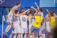 TOKIO -  vreugde bij België  na  de hockey finale mannen, Australie-Belgie (1-1), België wint shoot outs en is Olympisch Kampioen,  in het Oi HockeyStadion,   tijdens de Olympische Spelen van Tokio 2020.  COPYRIGHT KOEN SUYK