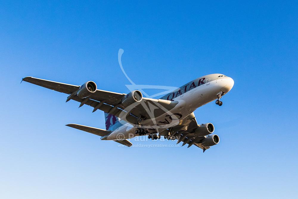 A Qatar Airbus A380 prepares to touch down on runway 27R at London's Heathrow Airport (LHR / EGLL).
