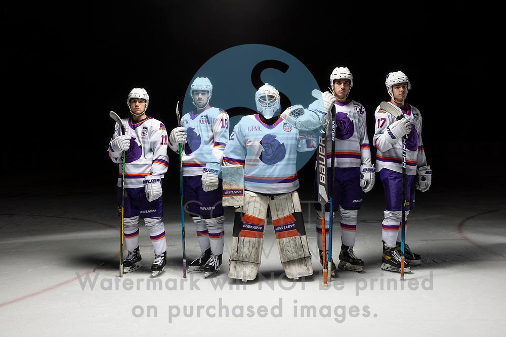 Youngstown Phantoms player photo shoot on April 14, 2021. <br /> <br /> Reilly Funk, forward, 94; Will Hillman, forward, 17; Jack Malone, forward, 18; Georgii Merkulov, forward, 11; Mattias Sholl, goalie, 32
