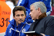 Rui Faria, the assistant first team coach listening to Jose Mourinho, the Chelsea manager. Barclays Premier League, West Ham Utd v Chelsea at The Boleyn Ground, Upton Park in London on Saturday 24th October 2015.<br /> pic by John Patrick Fletcher, Andrew Orchard sports photography.