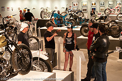Members of the Harley-Davidson design team in the Old Iron - Young Blood exhibition in the Motorcycles as Art gallery at the Buffalo Chip during the annual Sturgis Black Hills Motorcycle Rally. Sturgis, SD. USA. Tuesday August 8, 2017. Photography ©2017 Michael Lichter.