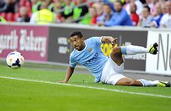 Manchester City's Gael Clichy keeps the ball in  - Photo mandatory by-line: Joe Meredith/JMP - Tel: Mobile: 07966 386802 25/08/2013 - SPORT - FOOTBALL - Cardiff City Stadium - Cardiff -  Cardiff City V Manchester City - Barclays Premier League