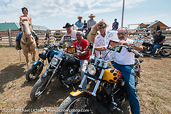 Jay Allen presents awards at the Spur Creek Ranch north of Sturgis during a stop for food and cowboy games on the annual Michael Lichter - Sugar Bear Ride hosted by Jay Allen from the Easyriders Saloon during the Sturgis Black Hills Motorcycle Rally. SD, USA. Sunday, August 3, 2014. Photography ©2014 Michael Lichter.