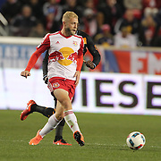 Mike Grella, New York Red Bulls, in action during the New York Red Bulls Vs Houston Dynamo, Major League Soccer regular season match at Red Bull Arena, Harrison, New Jersey. USA. 19th March 2016. Photo Tim Clayton